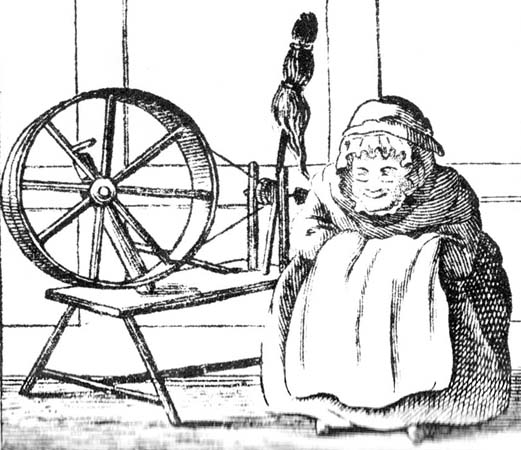 witney blanket story 18th Century Jokes 18th century cartoon of an old woman at her spinning wheel