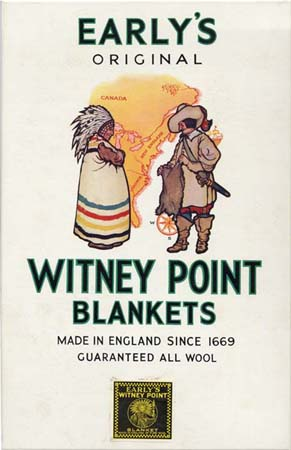 29f7ed3a47 Early s advertising sign showing a point blanket trading between a Native  American and an early merchant